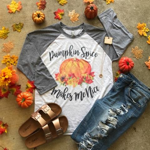 Pumpkin Spice Makes Me Nice | S-3X $29.99 | Fall Shirts | The Brave Beauty