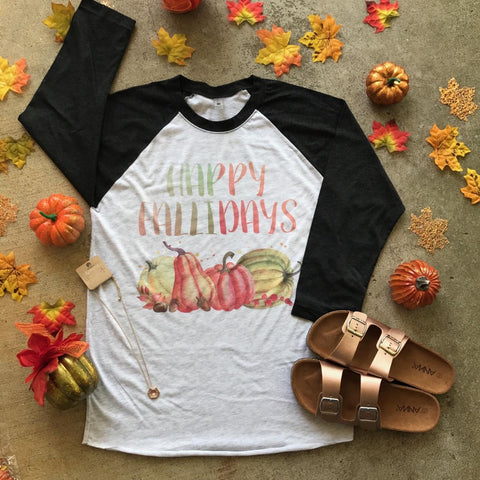 Happy Fallidays Raglan | S-3X $29.99 | Fall Shirts | The Brave Beauty
