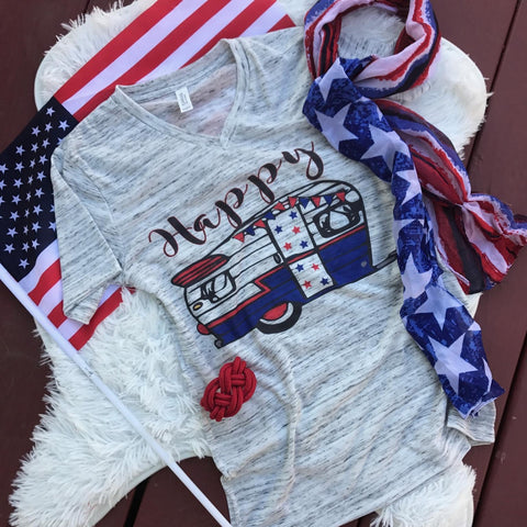 Happy USA Camper | S-2X $31.99 | Americana | The Brave Beauty