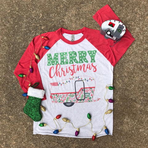 Merry Christmas Camper | Christmas Graphic Raglan | The Brave Beauty