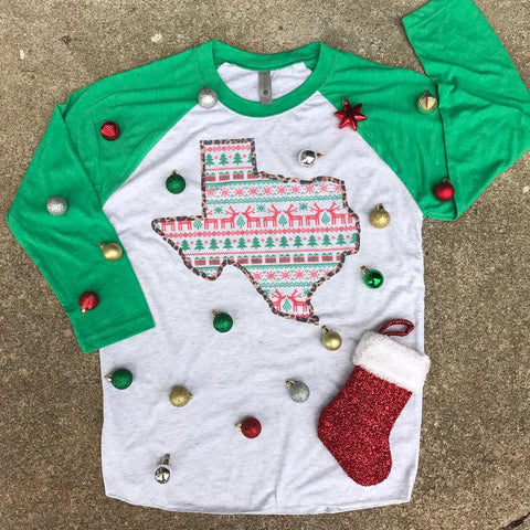State Shape Christmas Sweater | Christmas Graphic Raglan | The Brave Beauty