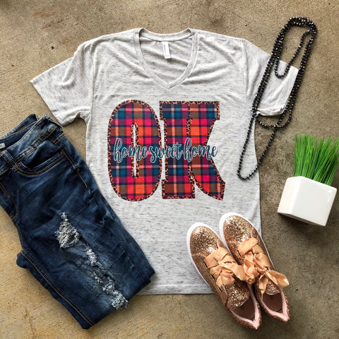 Plaid Home Sweet Home | Marbled Graphic Tee | The Brave Beauty