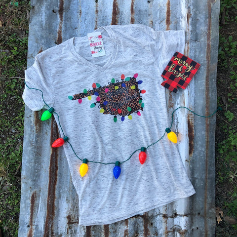 Leopard Lights State | $31.99 S-2X | Christmas Graphic Tee | The Brave Beauty