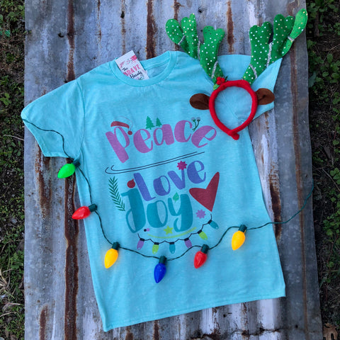 Peace Love Joy | $27.99 S-2X | Christmas Graphic Tee | The Brave Beauty