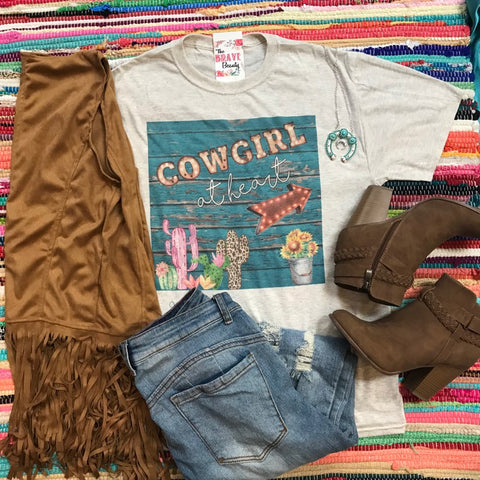 Cowgirl At Heart | S-3X $29.99 | Western Tee | The Brave Beauty