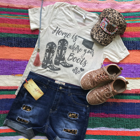 Home Is Where Your Boots Are | S-2X $27.99 | State Graphic Tee | The Brave Beauty