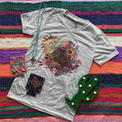 Sunflower Summer Serape State | S-2X $31.99 | Marbled Graphic Tee | The Brave Beauty