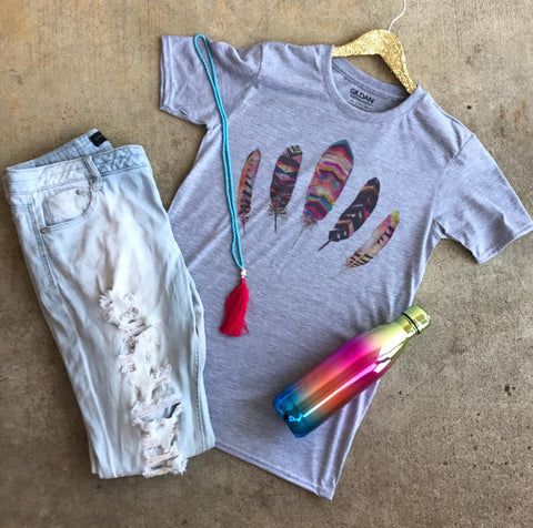 Watercolor Feathers Tee | $24.99 S-3X Oklahoma Pride | The Brave Beauty - The Brave Beauty