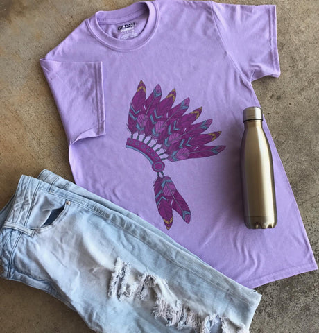 Lilac Headdress Tee | $24.99 S-3X Oklahoma Pride | The Brave Beauty - The Brave Beauty