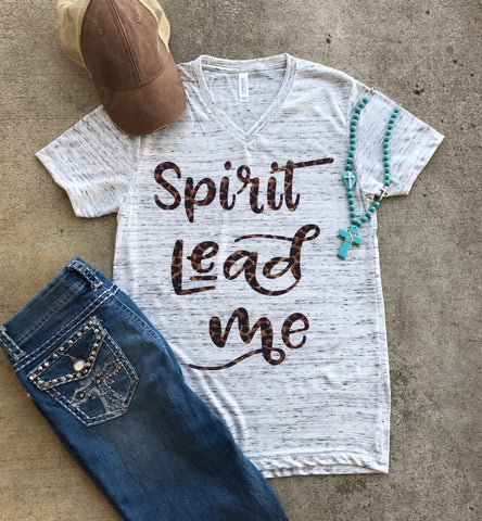 Spirit Lead Me Leopard Tee | Christian  S-2X $28.99 | The Brave Beauty - The Brave Beauty
