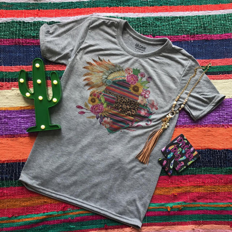 Sunflower Summer Serape Sport Grey Tee | S-3X $27.99 | State Pride Graphic Tee | The Brave Beauty