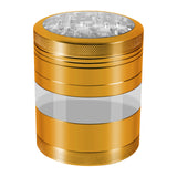 "KOBRA Grinders – Premium Large Herb Grinder - Four Piece Aluminum with Pollen Catcher - 3.25 Inches Tall - (2.5"", Gold)"