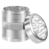 "KOBRA Grinders – Premium Large Herb Grinder - Four Piece Aluminum with Pollen Catcher - 3.25 Inches Tall - (2.5"", Silver)"