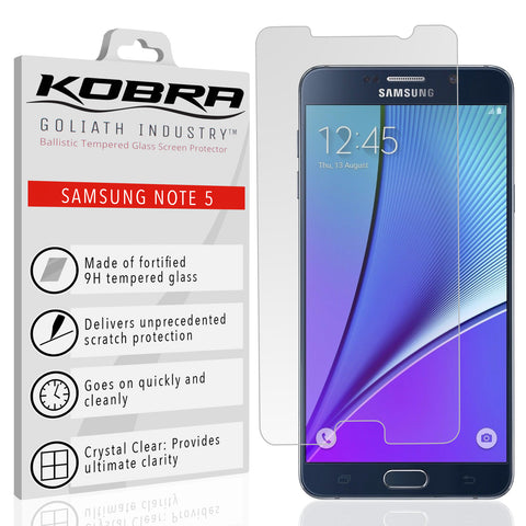 Samsung Note 5 Screen Protector (0.3mm 9H Tempered Glass) Ultra Thin With Premium HD Clarity – Shatterproof Ballistic Shield, Anti Fingerprints, Scratch Proof, Max Touch Accuracy (Lifetime Warranty)
