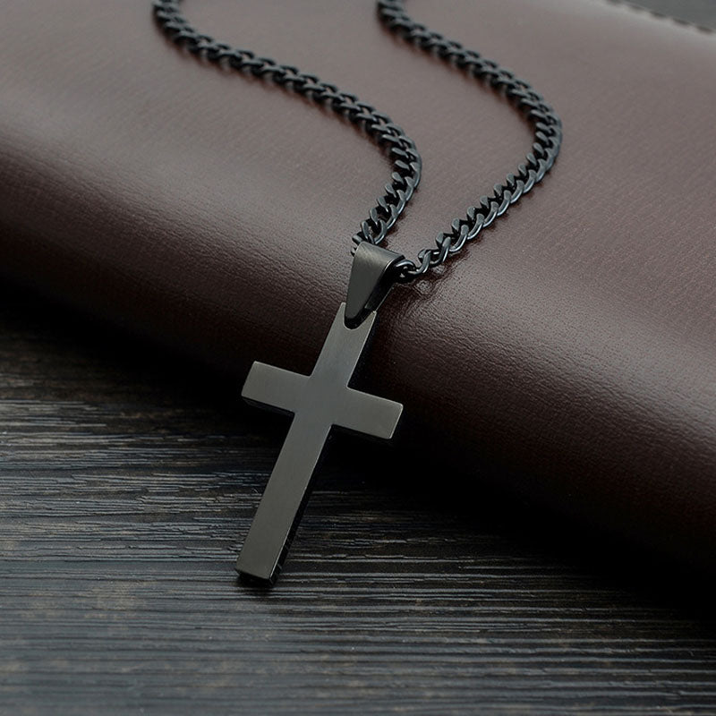 Solid Black Cross Pendant Necklace - The Status Flow bc9ddcd3545b