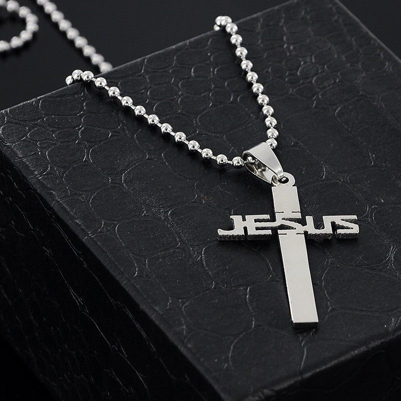 Jesus cross pendant bead chain necklace the status flow jesus cross pendant bead chain necklace mozeypictures Gallery