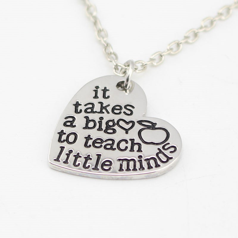 It takes a big heart to teach little minds hand stamped pendant it takes a big heart to teach little minds hand stamped pendant necklace aloadofball Choice Image