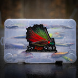 "A Watermelon Red Flake ""Get Jiggy With It"" decal on a plano tackle box"