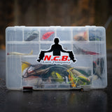 An NCB Logo Decal on a plano tackle box