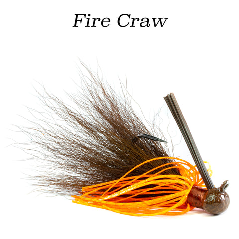 Fire Craw Hybrid-Skirt Football Jig, hand tied fishing lure
