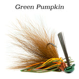 Green Pumpkin Hybrid-Skirt Casting Jig, arky head fishing lure