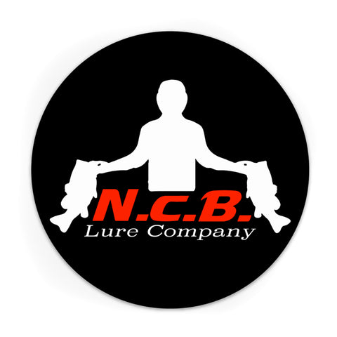 A circular ncb white logo decal on a black background