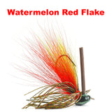 Watermelon Red Flake Hybrid-Skirt Structure Jig, standup style jighead