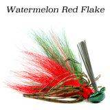 Watermelon Red Flake Hybrid-Skirt Casting Jig, arky head fishing lure