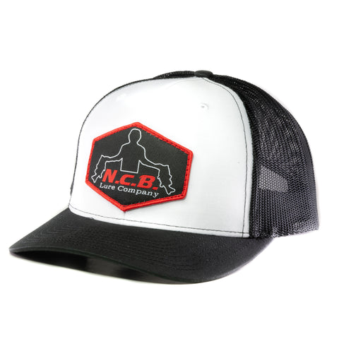 White/Black snapback hat with a hand stitched NCB logo patch