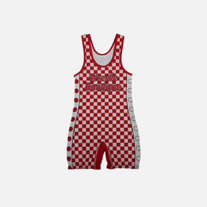 WB Red Checker Singlet - Wrestle Boutique