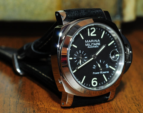 44MM MARINA MILITARE POLISHED SS AUTO W/ POWER RESERVE AND DATE