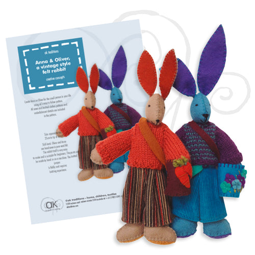 Anna and Oliver, felt rabbit kit