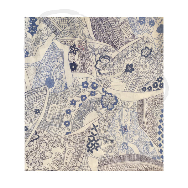 Blue Willow Pattern Broken Plates fabric