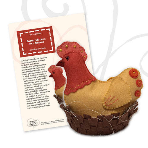 Easter chicken in a basket, sewing kit