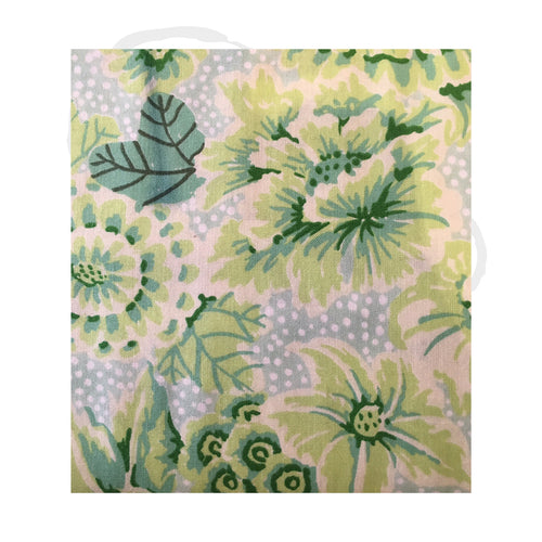 Floral spots green fabric