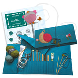 stylish knitting needle roll & the magic garden book, sewing kit