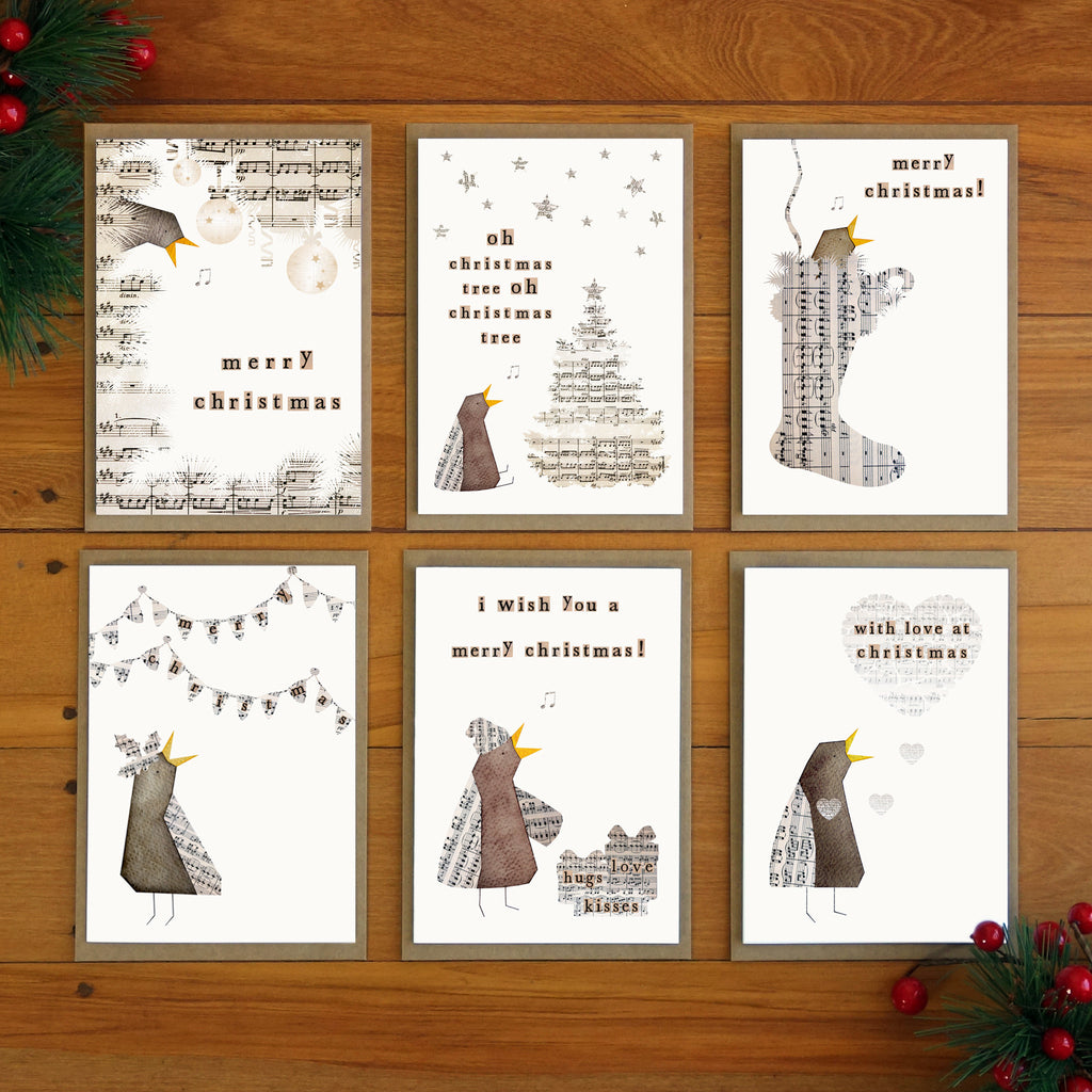 Word Bird Christmas Cards (set of 6)