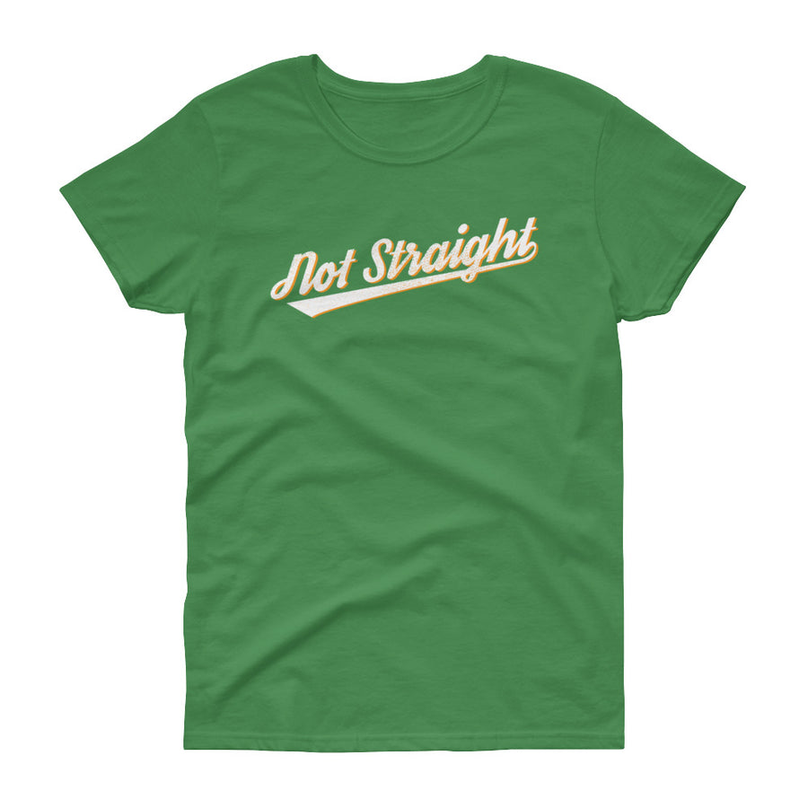 NOT STRAIGHT shirt (mid-scoop, near-capped sleeves)