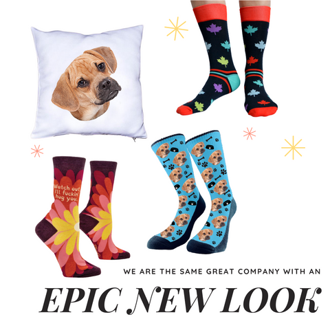 pET SOCKS, FACE COSKS, PERSONALIZED SOCKS. PILLOW, EPIC NEW LOOK. PUP SOCKS CANADA