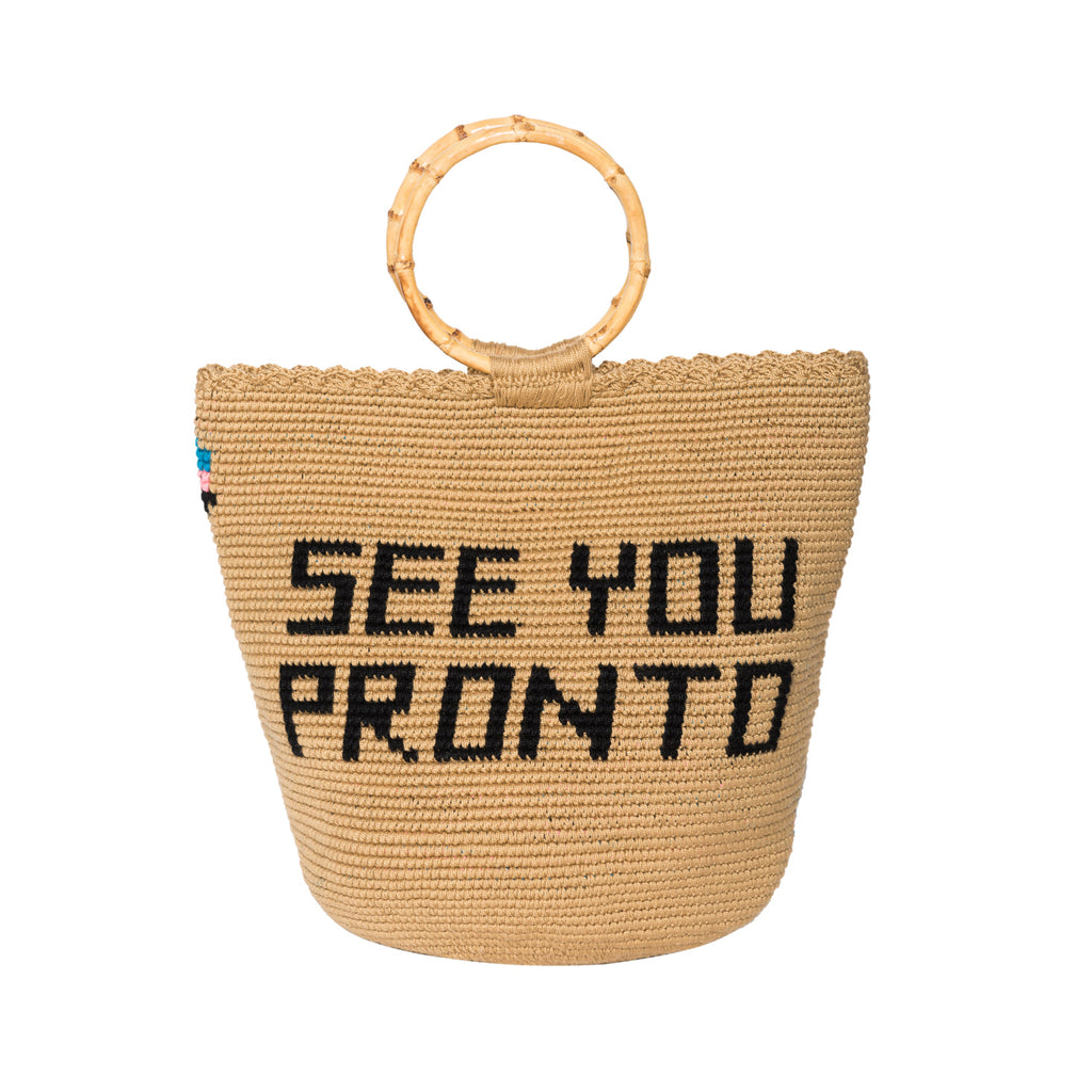 SEE YOU PRONTO Handmade Bamboo Tote