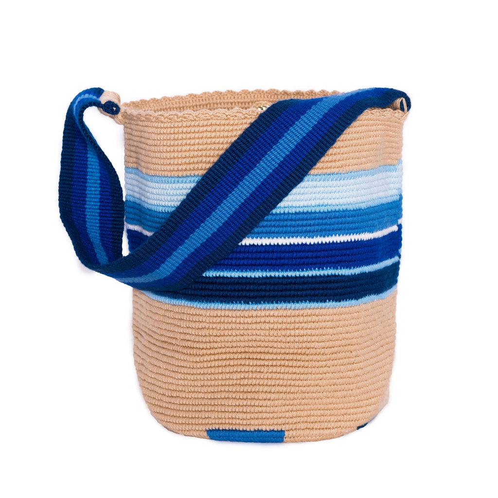 Striped Sky Woven Mochila Bucket Bag