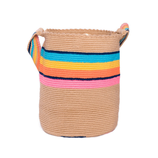 Striped Rainbow Woven Mochila Bucket Bag