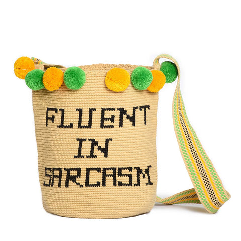 FLUENT IN SARCASM WOVEN MOCHILA BUCKET BAG - 1