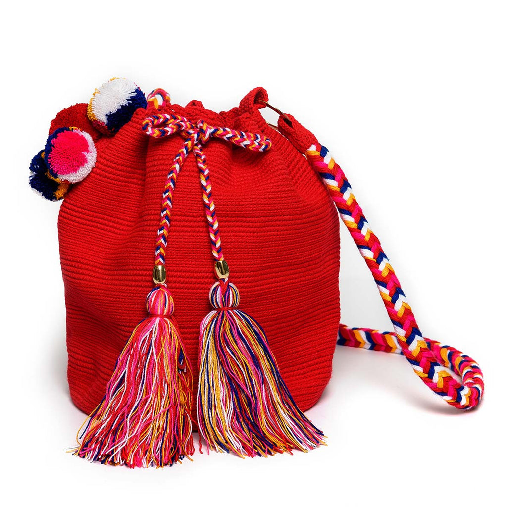 Rainbow Woven Mochila Bucket Bag - Main