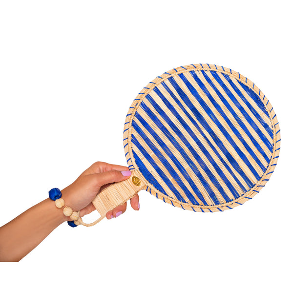 Blue Round Shaped Iraka Palm Fan