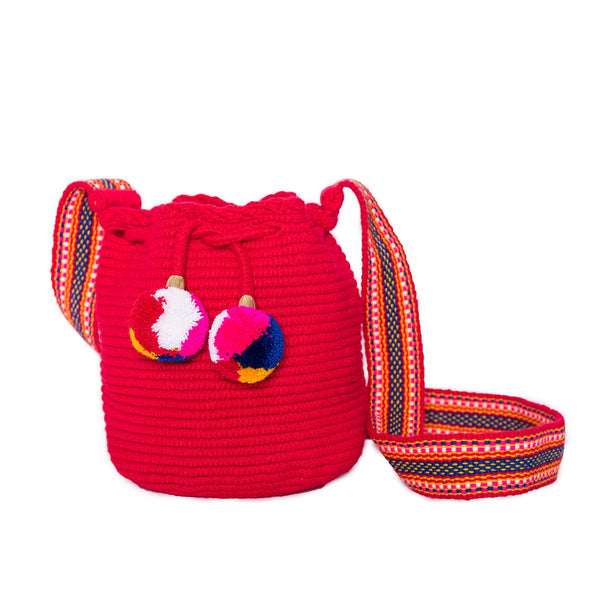 Mini Red Mochila Woven Bucket Bag