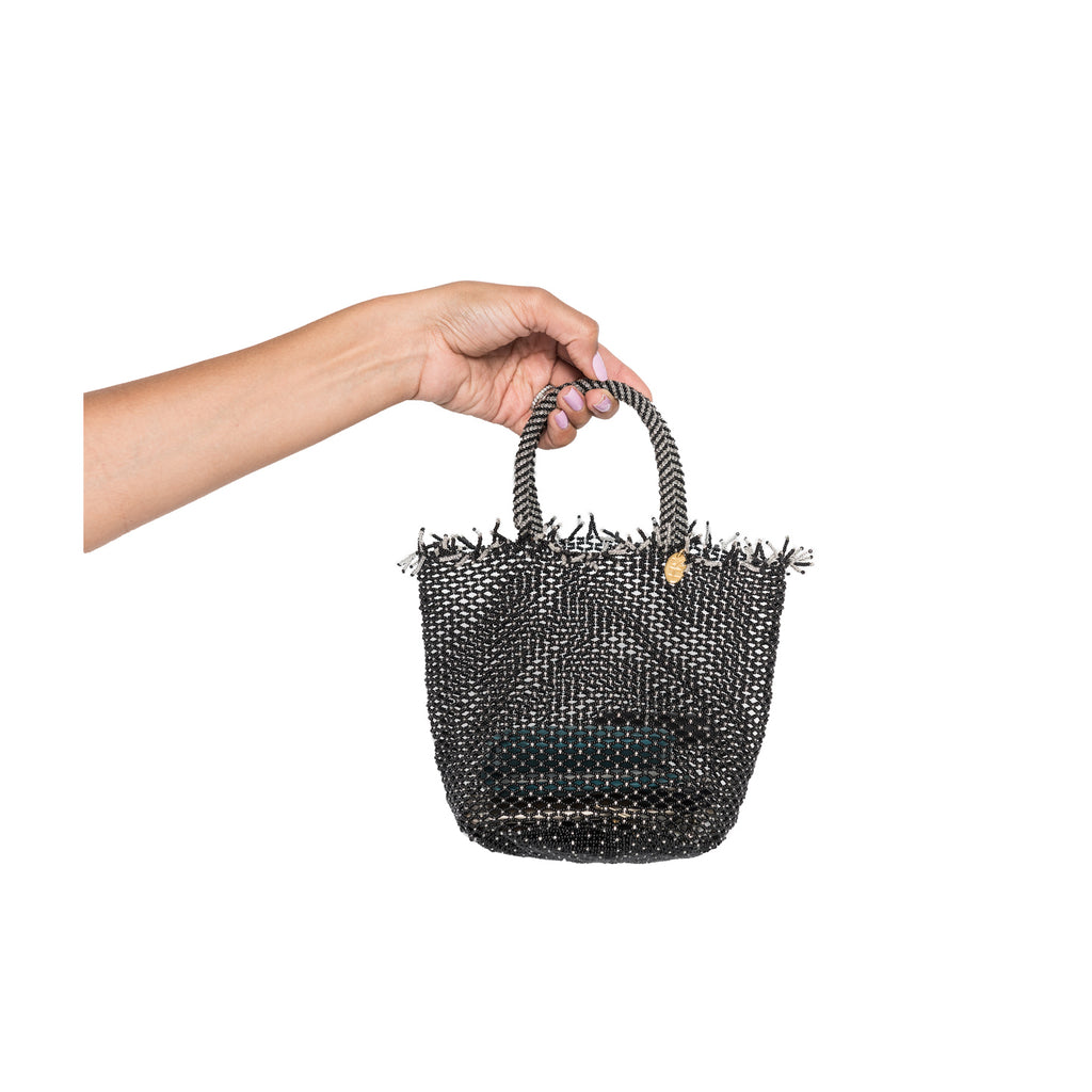 Black Mini Beaded Bag