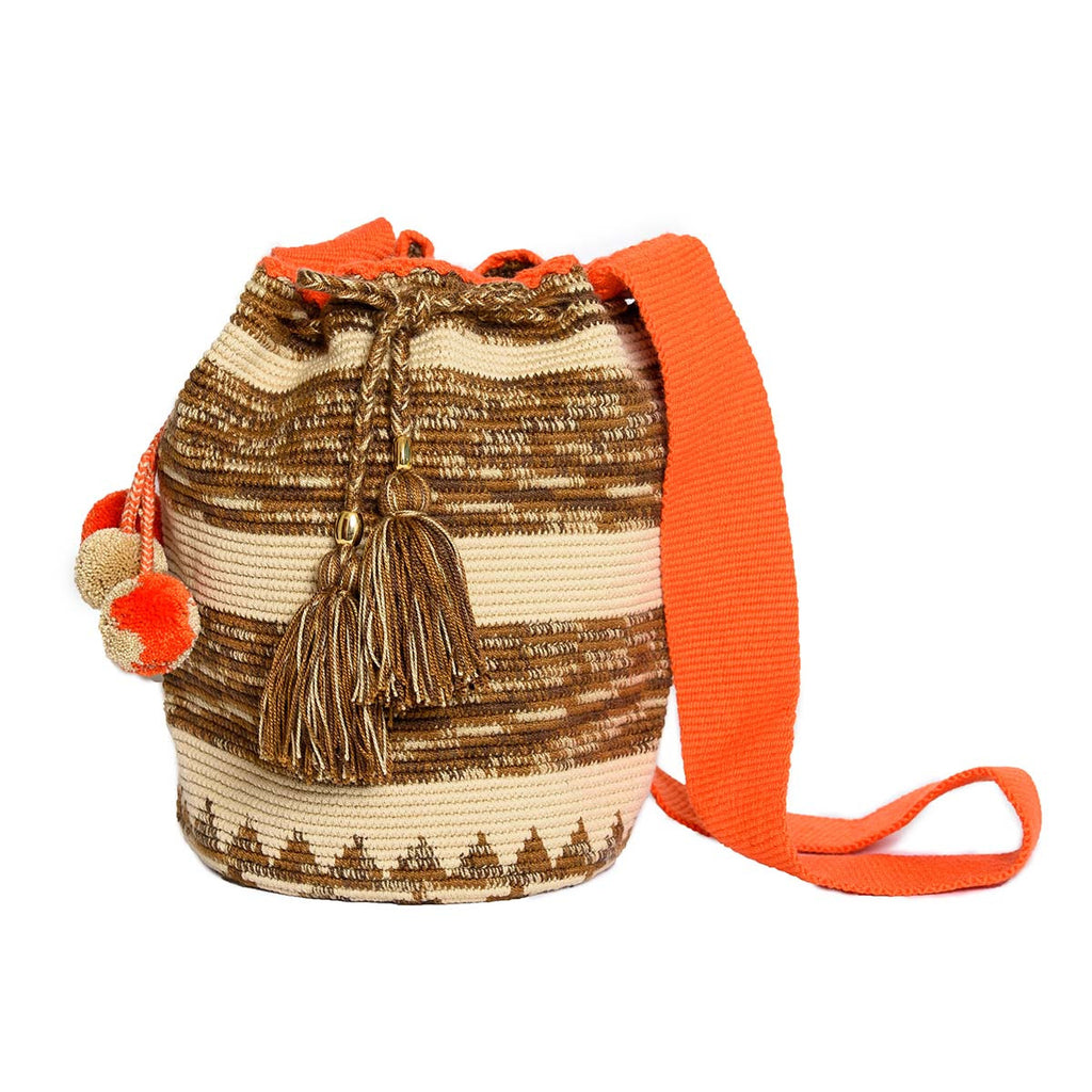 Tangerine Woven Mochila Bucket Bag - Main