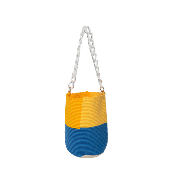 Bright Colorblock Midi Bucket Bag