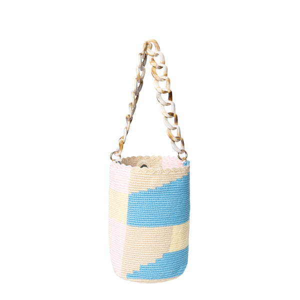 Abstract Pastel Midi Bucket Bag